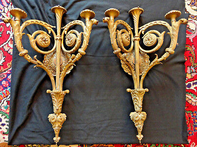 "Vtg French Sconces -Fancy Huge Brass Pair 26.5"" Tall- 16 Lbs Ea. - From Estate"