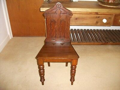 Vintage Carved Oak Gothic Chapel Style Hall Chair Bedroom Landing Antique Old