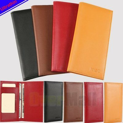 Checkbook Cover Holder Super Slim Plain Mens Womens Genuine Leather Cowhide Gift