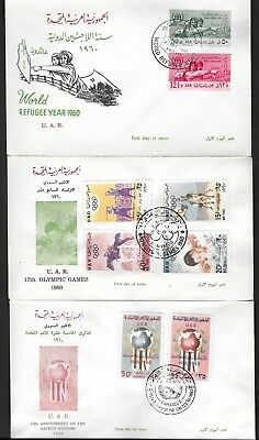 SYRIA 1960 FIVE DIFFERENT FDCs OF UAR COMMEMORATIVE ISSUES COMPLETE SETS