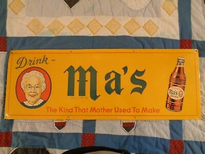 very rare MA'S ROOTBEER TIN SIGN, 1940'S,EMBOSSED. 28 X 10