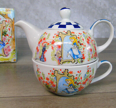NEW Alice In Wonderland TEA FOR ONE Teapot Cup Lid Through The Looking Glass