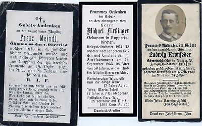 3 X Death Cards  From Ww1 Veterans.
