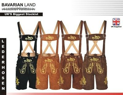 Men,s LEDERHOSEN Real Suede Leather with Matching Suspenders Shorts