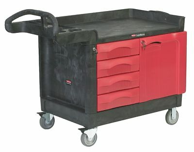 "Rubbermaid 49"" x 26-1/4"" x 38"" Black Trade Cart/Service Bench, 750 lb. Load"