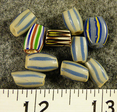 (10) Hudson's Bay Company Indian Mixed Watermelon Glass Trade Beads 150+ Yr Old