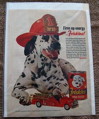 Dalmation Fire House Dog With Friskies Dog Food And Fire Truck Ad Vintage 1954