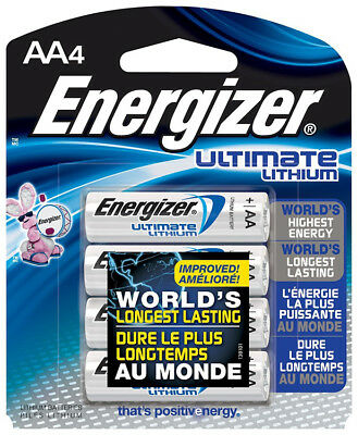 Energizer Ultimate Lithium AA Batteries for High-Tech Devices (1.5V x 4 Pack)