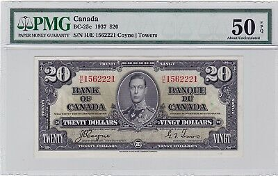 1937  Bank of Canada $20 Note  BC-25c Graded by PMG AU-50