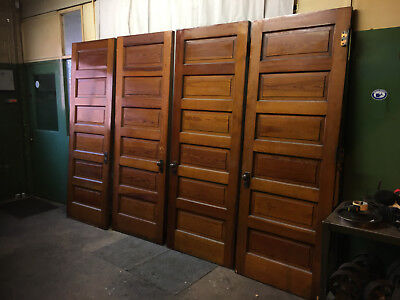 "Set of 4 Pine Raised 6 Panel Doors Woodgrain Antique 31-7/8""x90"""
