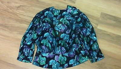 vintage top Michael Welford Romney black purple blues green size 12 Christmas