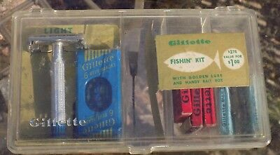 Vintage Gillette Razor Blue Tip  In Original Fishing Kit Box Blue Blades+