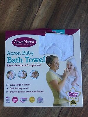 Clevamama 100% Cotton  Baby Bath Apron Towel, Toddler Hooded Bath Towel White