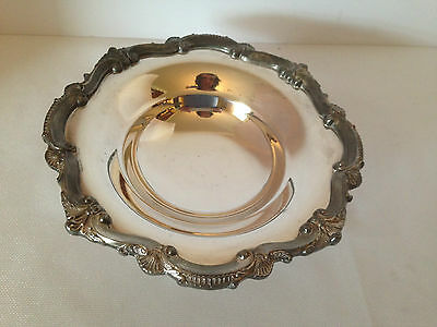Vintage ornate round footed bonbon dish bristol silverplate by poole #136