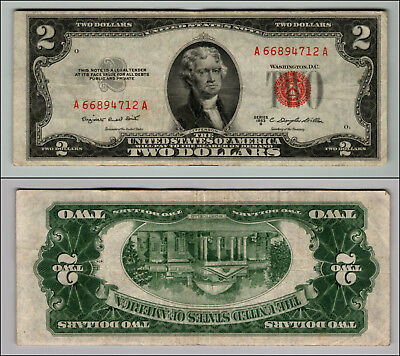 1953B $2 Dollar  Us Note Legal Tender Paper Money Currency Red Seal W488