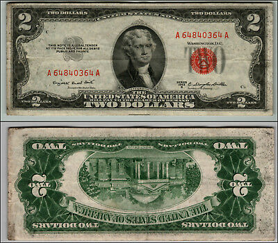 1953B $2 Dollar  Us Note Legal Tender Paper Money Currency Red Seal W490