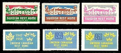 Canada - Charity Stamps - Swedish Rest Home, Vancouver, BC - 6 Diff 1948/1960