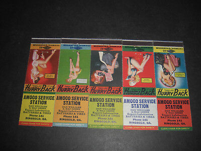 Pin-Up 1946 AMOCO Service Station Williams & Green Matchbook Covers Set of 5