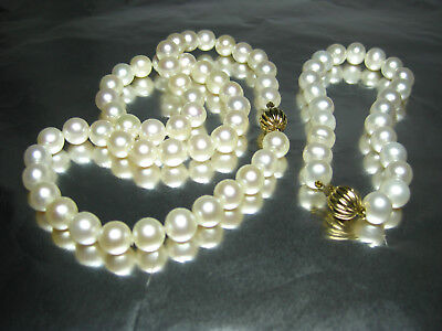 Freshwater PEARLS & SOLID 9k/ 9ct GOLD Necklace & Bracelet 375 GOLD