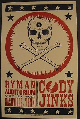 Cody Jinks Ryman Nashville TN Hatch Show Print Poster October 21, 2017 SOLD OUT