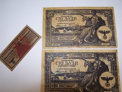"""German Occupied Greece Banknotes with German """"Script(?) for 2 RM"""