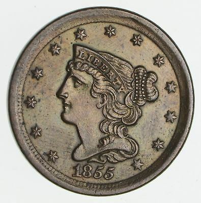1855 Braided Hair Half Cent- Circulated *2361