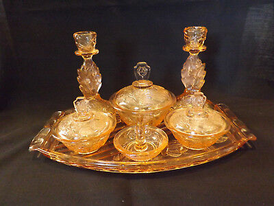Walther Pink Depression Glass 7-Piece Dressing Table Set