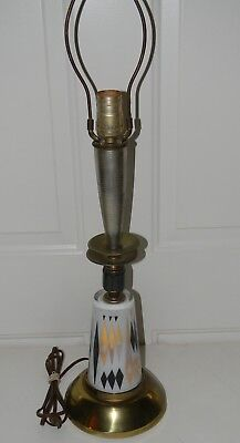 Vinage Mid Century Modern Space Age Atomic Table Lamp Glass Brass Metal