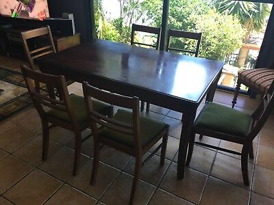 Dining table and 6 chairs - 1950's Antique - Solid Red Cedar