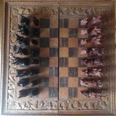 Balinese Hand Carved Wood Chess Set
