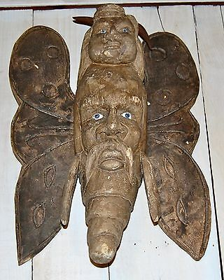 Vintage / Antique MEXICAN Carved Wooden Mask BAD OMEN DIET RARE w/ Glass Eyes