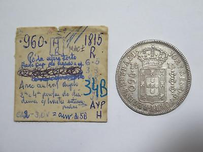 Brazil 1815 R 960 Reis Over 8 Reales Ex:kurt Prober Old World Coin Collection Yy