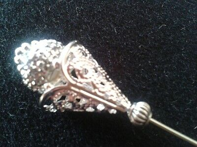 "Sparkly filagree silvered long hat pin with clutch ""Handmade by Helen"""