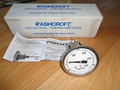 "New Ashcroft 3"" bi-metal industrial thermometer type EI 1/2 NPT 2.5"" stem NIB **"