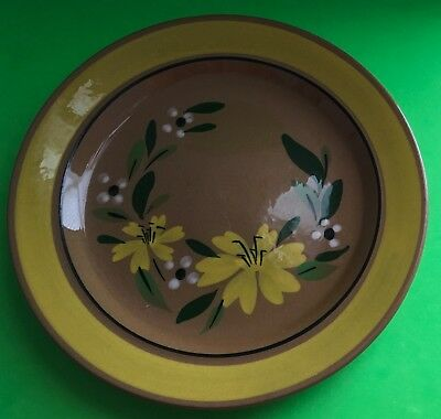 Vintage Stangl Red Stoneware Trenton New Jersey Yellow Flower Luncheon Plate