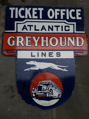 Atlantic greyhound lines double sided Porcelain Sign 25 x 29.5 Inches