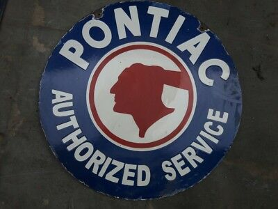 """Porcelain Pontiac service Sign SIZE 24"""" INCHES double sided round"""