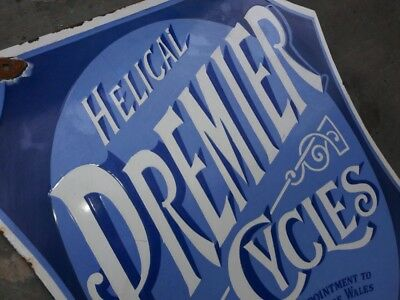 """Porcelain Helical PREMIER CYCLES Enamel Sign dimensions 18"""" X 22"""" Inches"""