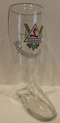 Large 2L Clear Glass Beer Boot Schwabenbrau Vintage Stein Octoberfest