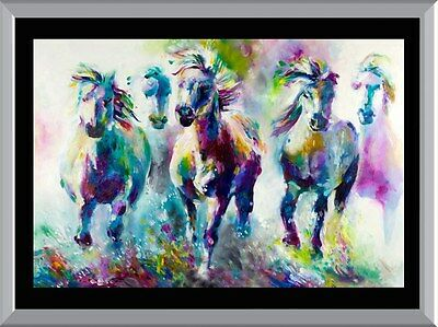 Watercolour Wild Horses A1 To A4 Size Poster Prints