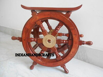 New Ship Wheel Teak Wood Carved Table Reproduction Nautical Recreata Gift Item