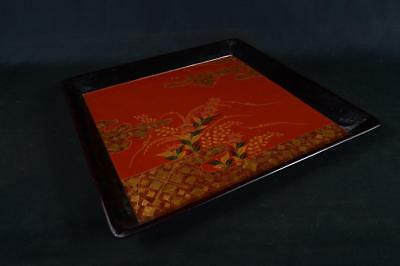 J7200:Japanese Wooden Flower gold lacquer pattern WOODEN TRAY/plate Senchabon