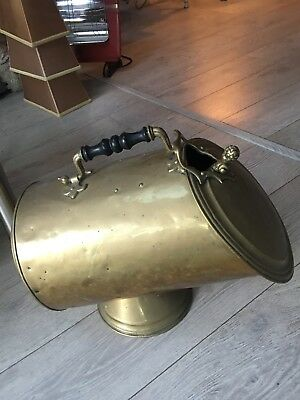 antique brass coal bucket with shovel cherub handle
