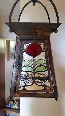 Beautiful Original Arts and crafts Coloured Glass Hall / Porch lantern