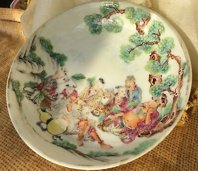Chinese Antique 19th C Porcelain Tea Bowl + Saucer Famille Rose Immortals