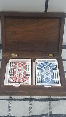 Two Sets Of Playing Cards In Wooden Box.
