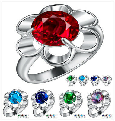 Wholesale Fashion Jewelry 925 Silver Zircon Crystal Flowers Woman Ring Size 5-10
