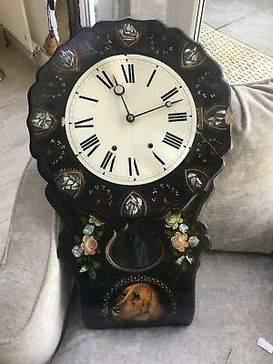 victorian clock ebonised paper mache and mother of pearl wall clock