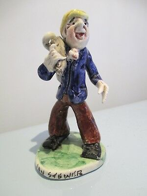 Will Young Runnaford Pottery  'Jan Stewer' Figure Carrying A Goose In A Bag