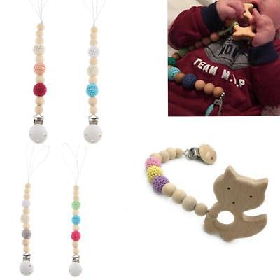 Organic Wooden Crochet Beads Color Sensory Natural Pacifier Clip Teether Toy